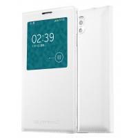 Чехол смарт флип на пластиковой основе с окном вызова для Samsung Galaxy Note 3  Белый