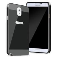 Двухкомпонентный чехол c металлическим бампером с поликарбонатной двухцветной накладкой для Samsung Galaxy Note 3  Черный