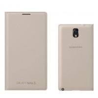 Оригинальный чехол смарт флип на пластиковой основе с отсеком для карт для Samsung Galaxy Note 3  Бежевый