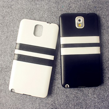 Силиконовый матовый непрозрачный чехол с текстурным покрытием Кожа для Samsung Galaxy Note 3