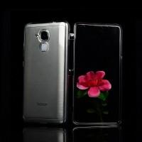 Двухкомпонентный силиконовый матовый полупрозрачный чехол горизонтальная книжка с акриловой полноразмерной транспарентной смарт крышкой для Huawei Honor 5C  Серый