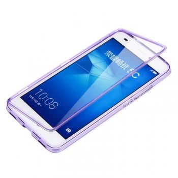 Двухкомпонентный силиконовый матовый полупрозрачный чехол горизонтальная книжка с акриловой полноразмерной транспарентной смарт крышкой для Huawei Honor 5C
