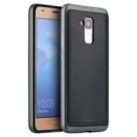 Двухкомпонентный силиконовый матовый непрозрачный чехол с нескользящими гранями и поликарбонатным бампером для Huawei Honor 5C  Серый