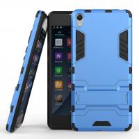 Противоударный двухкомпонентный силиконовый матовый непрозрачный чехол с поликарбонатными вставками экстрим защиты с встроенной ножкой-подставкой для Sony Xperia E5 Голубой