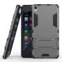 Противоударный двухкомпонентный силиконовый матовый непрозрачный чехол с поликарбонатными вставками экстрим защиты с встроенной ножкой-подставкой для Sony Xperia E5