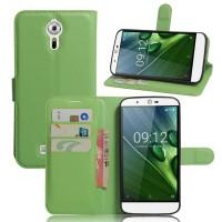 Чехол портмоне подставка на силиконовой основе на магнитной защелке для Acer Liquid Zest Plus  Зеленый