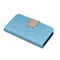 Чехол горизонтальная книжка подставка на пластиковой основе с отсеком для карт на дизайнерской магнитной защелке для Huawei Honor 5A/Y5 II Голубой
