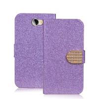 Чехол горизонтальная книжка подставка на пластиковой основе с отсеком для карт на дизайнерской магнитной защелке для Huawei Honor 5A/Y5 II Фиолетовый