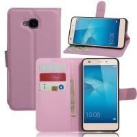 Чехол портмоне подставка на силиконовой основе на магнитной защелке без отверстия для датчика отпечатка пальца для Huawei Honor 5C Розовый