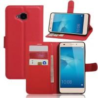 Чехол портмоне подставка на силиконовой основе на магнитной защелке без отверстия для датчика отпечатка пальца для Huawei Honor 5C Красный
