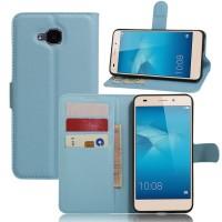 Чехол портмоне подставка на силиконовой основе на магнитной защелке без отверстия для датчика отпечатка пальца для Huawei Honor 5C Голубой