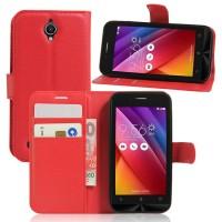 Чехол портмоне подставка на силиконовой основе на магнитной защелке для ASUS ZenFone Go 4.5  Красный