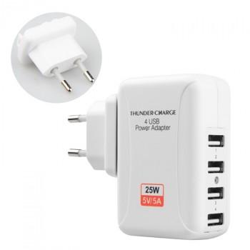 Универсальный сетевой 220В зарядный адаптер на 4 USB разъема (5В, 5А, 25Вт)