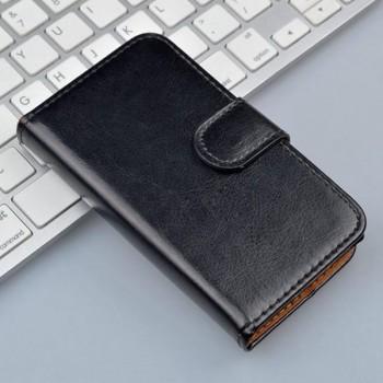Вощеный чехол портмоне подставка на силиконовой основе на магнитной защелке для ZTE Blade Q Lux
