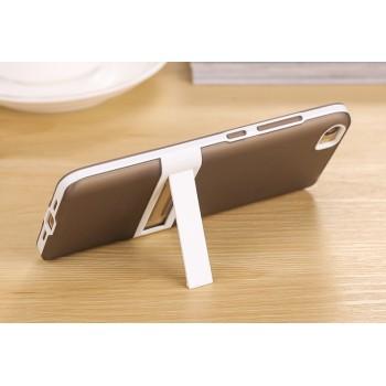 Двухкомпонентный силиконовый матовый полупрозрачный чехол с поликарбонатным бампером и встроенной ножкой-подставкой для Xiaomi MI5