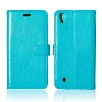 Чехол портмоне подставка на силиконовой основе на магнитной защелке для LG X Power  Голубой