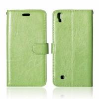 Чехол портмоне подставка на силиконовой основе на магнитной защелке для LG X Power  Зеленый