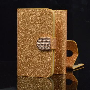 Чехол горизонтальная книжка подставка текстура Золото на пластиковой основе с отсеком для карт на дизайнерской магнитной защелке для LG X cam