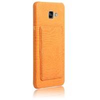 Чехол накладка текстурная отделка Кожа с отсеком для карт и функцией подставки для Samsung Galaxy A7 (2016)  Оранжевый
