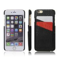 Чехол накладка текстурная отделка Кожа с отсеком для карт для Iphone 6/6s  Черный
