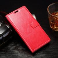 Глянцевый чехол портмоне подставка на силиконовой основе на магнитной защелке для Sony Xperia E5  Красный
