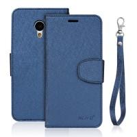 Чехол портмоне подставка на силиконовой основе на магнитной защелке для Meizu M3s Mini Синий