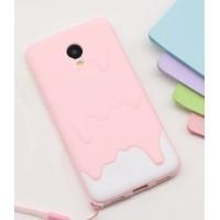 Силиконовый матовый непрозрачный дизайнерский фигурный чехол для Meizu M3s Mini  Розовый