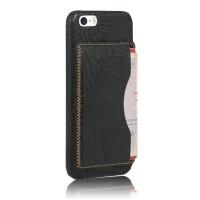 Чехол накладка текстурная отделка Кожа с отсеком для карт и функцией подставки для Iphone 5s/5/SE Черный