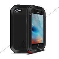 Эксклюзивный многомодульный ультрапротекторный пылевлагозащищенный ударостойкий нескользящий чехол алюминиево-цинковый сплав/силиконовый полимер с закаленным защитным стеклом для Iphone 5s/5/SE Черный