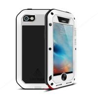 Эксклюзивный многомодульный ультрапротекторный пылевлагозащищенный ударостойкий нескользящий чехол алюминиево-цинковый сплав/силиконовый полимер с закаленным защитным стеклом для Iphone 5/5s/SE Белый