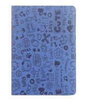 Чехол книжка подставка с рамочной защитой экрана и полноповерхностным принтом для ASUS Transformer Book T100HA  Синий
