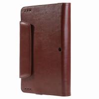 Вощеный чехол книжка подставка с рамочной защитой экрана, крепежом для стилуса и отсеком для карт для ASUS Transformer Book T100HA  Коричневый