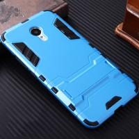 Противоударный двухкомпонентный силиконовый матовый непрозрачный чехол с поликарбонатными вставками экстрим защиты с встроенной ножкой-подставкой для Meizu M3s Mini Голубой