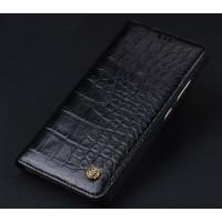 Кожаный чехол горизонтальная книжка (премиум нат. кожа крокодила) для Meizu MX6  Черный
