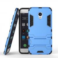 Противоударный двухкомпонентный силиконовый матовый непрозрачный чехол с поликарбонатными вставками экстрим защиты с встроенной ножкой-подставкой для Meizu MX6  Голубой