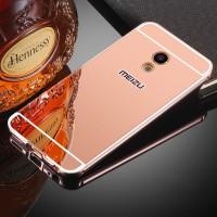 Двухкомпонентный чехол c металлическим бампером с поликарбонатной накладкой и зеркальным покрытием для Meizu MX6  Розовый