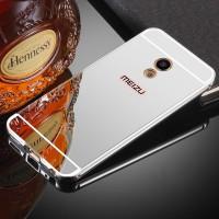 Двухкомпонентный чехол c металлическим бампером с поликарбонатной накладкой и зеркальным покрытием для Meizu MX6  Белый