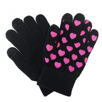Сенсорные трехпальцевые перчатки шерсть/акрил дизайн Сердечки