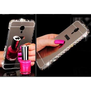 Двухкомпонентный чехол c металлическим бампером с ручной аппликацией стразами, поликарбонатной накладкой и зеркальным покрытием для Meizu MX6