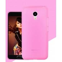 Силиконовый матовый полупрозрачный чехол для Meizu MX6  Розовый