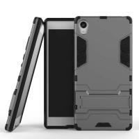 Противоударный двухкомпонентный силиконовый матовый непрозрачный чехол с поликарбонатными вставками экстрим защиты с встроенной ножкой-подставкой для Sony Xperia Z5 Premium  Серый