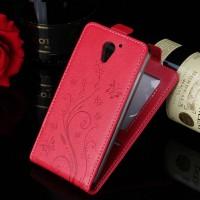 Винтажный чехол вертикальная книжка текстура Узоры на силиконовой основе с отсеком для карт на магнитной защелке для ZTE Blade A510  Красный
