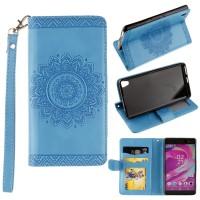 Чехол портмоне подставка текстура Узоры на силиконовой основе на магнитной защелке для Sony Xperia XA Голубой