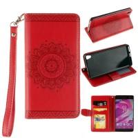 Чехол портмоне подставка текстура Узоры на силиконовой основе на магнитной защелке для Sony Xperia XA Красный