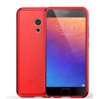 Двухкомпонентный чехол c металлическим бампером и клеевой накладкой текстура Кожа для Meizu Pro 6 Красный