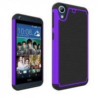 Противоударный двухкомпонентный силиконовый матовый непрозрачный чехол с поликарбонатными вставками экстрим защиты для HTC Desire 626/628 Фиолетовый