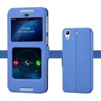 Чехол горизонтальная книжка подставка на силиконовой основе с окном вызова и полоcой свайпа на магнитной защелке для HTC Desire 626/628 Синий