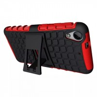 Противоударный двухкомпонентный силиконовый матовый непрозрачный чехол с поликарбонатными вставками экстрим защиты с встроенной ножкой-подставкой для HTC Desire 626/628 Красный
