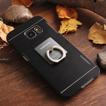 Пластиковый непрозрачный матовый чехол с текстурным покрытием Металл для Samsung Galaxy S7 Edge