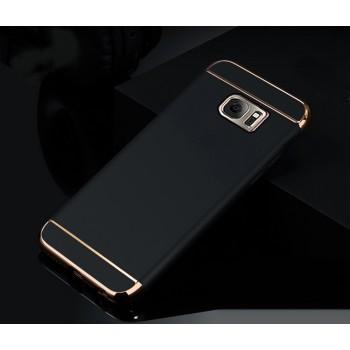 Пластиковый непрозрачный матовый чехол сборного типа с текстурным покрытием Металл для Samsung Galaxy S7 Edge